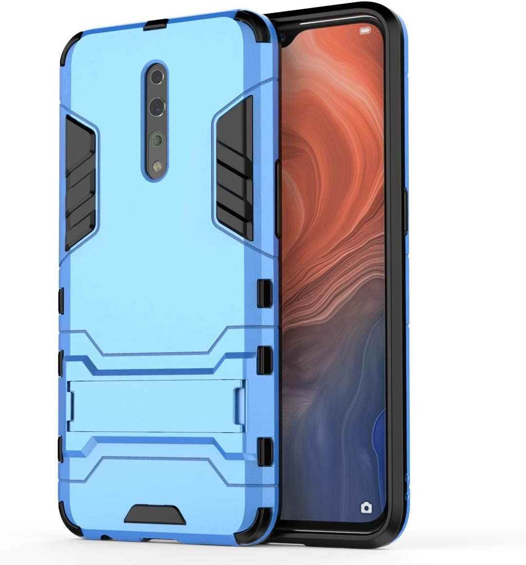 TANYO Phone Case for OPPO Find X2 Pro TPU//PC Hybrid Armor Cover Blue Shockproof Rugged Shell with Kickstand /& Protection Bumper