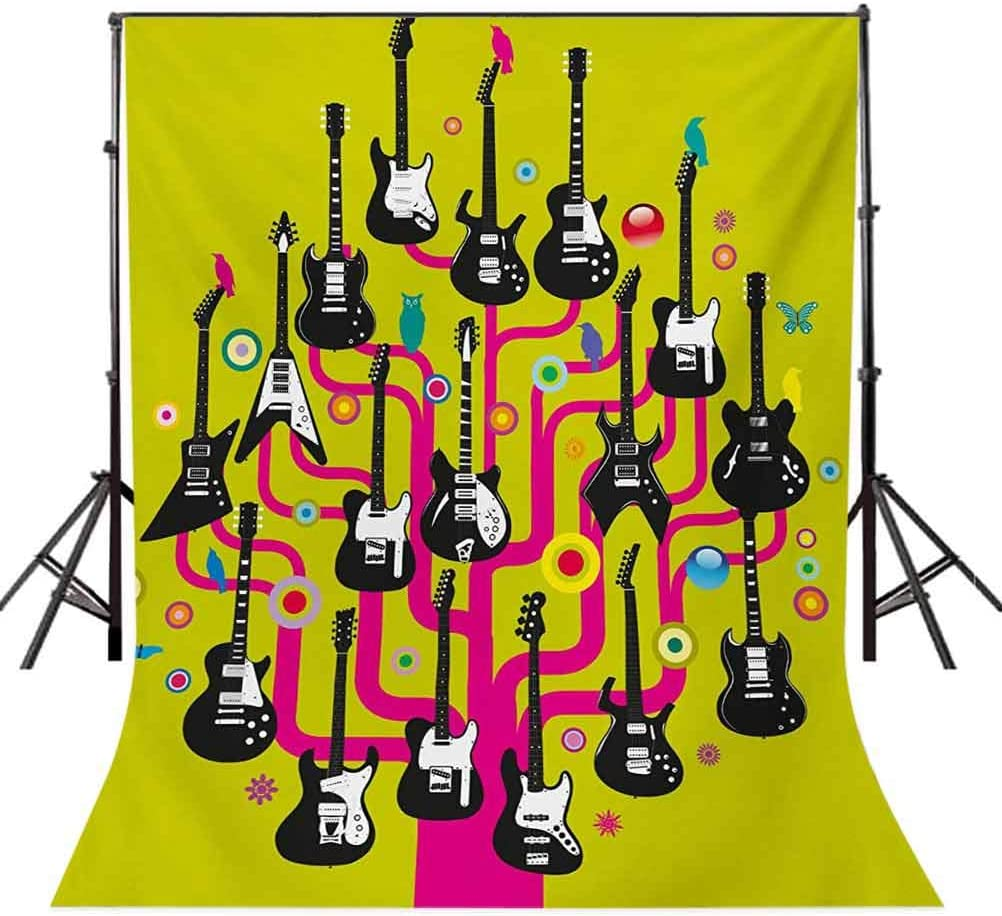 Guitars for Rock Stars Above a Tree Plant Modern Geometric Design Print Background for Baby Shower Birthday Wedding Bridal Shower Party Decoration Photo Studio Music 6.5x10 FT Photography Backdrop