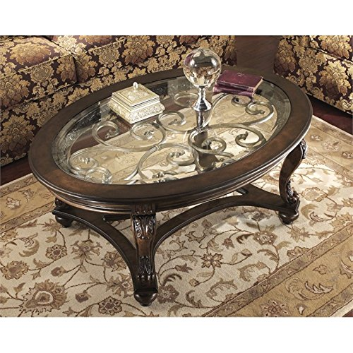 Ashley Furniture Signature Design Norcastle Glass Top Coffee Table - Ashley furniture oval coffee table