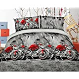 HIG Vivid 3D Bed Sheet Set Sport Bike Motorcycle besides Mountain Road Print in Queen King Size - Wrinkle Free, Fade Resistant, Ultra Soft (Queen, MOTORCYCLE-Y48)