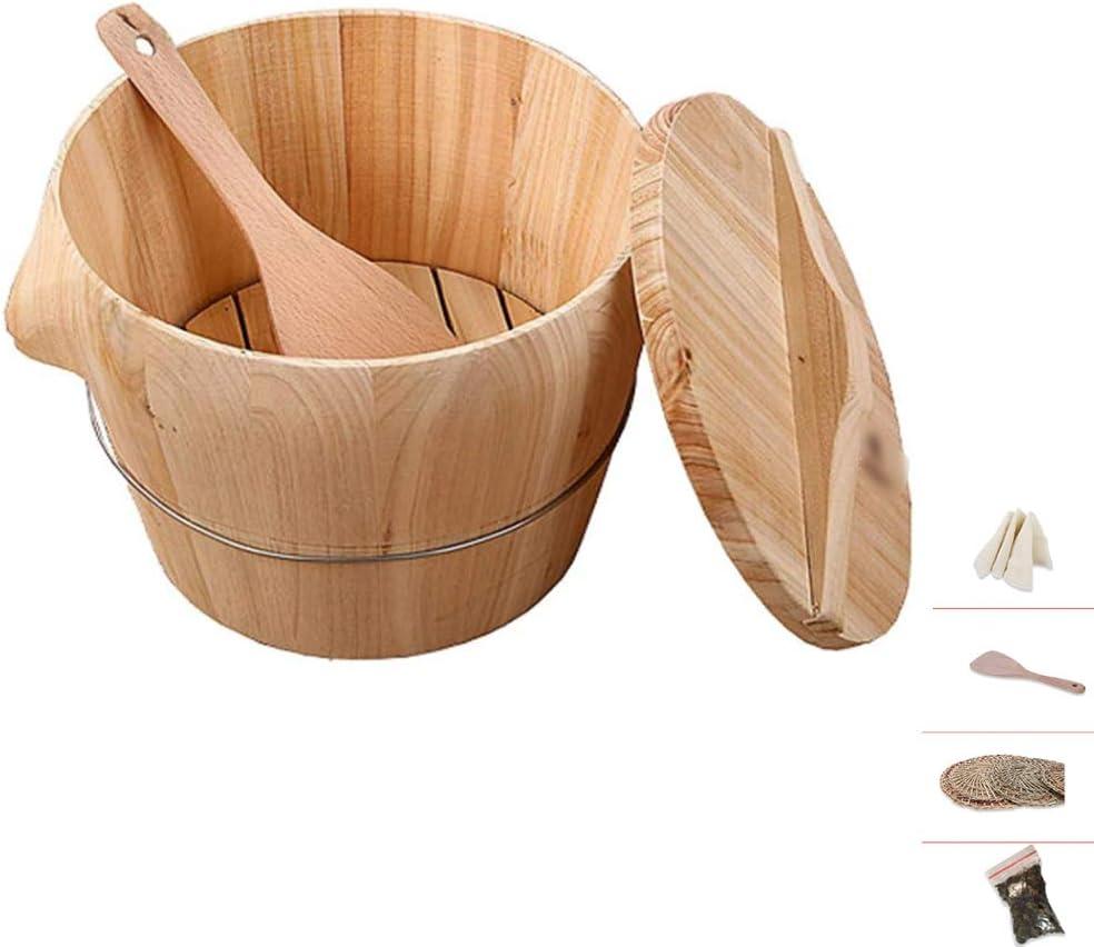 QZT Wooden Steamer Wooden Barrel, Cedar Wooden Steamer Wooden Food Barrel 10Kg Steamed Rice Bucket Bamboo Steamer (Flat Lid Wooden Shovel Bucket) for Kitchen/Restaurant/Restaurant/Home