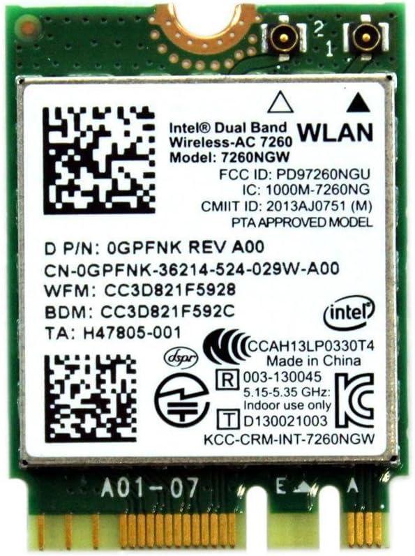 Dell Intel Wireless 7260 WLAN Wifi Bluetooth 4.0 Card Optiplex 9030 AIO GPFNK