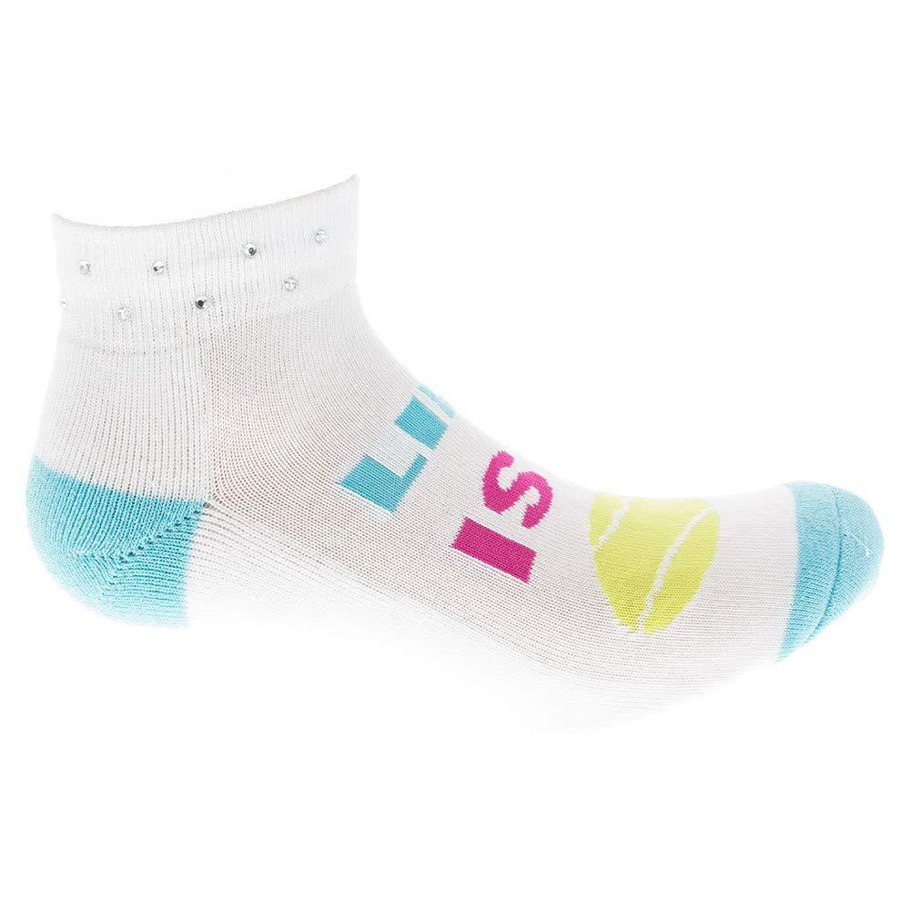 KGWS16E008-01 - Moisture Wicking Women`s Life is a Ball Tennis Socks White - K Bell Socks Breathability
