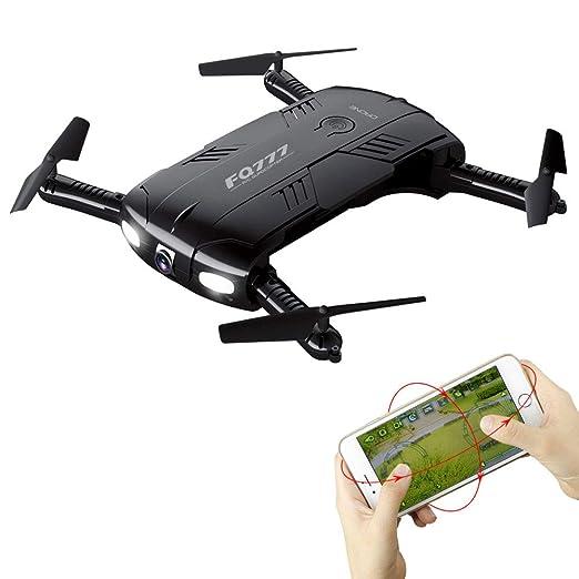 Lvreby 2.4G 4CH RC Drone, con cámara HD WiFi FPV RC Plegable ...