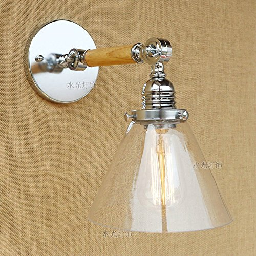 CGJDZMD Wall Sconce Vintage Industrial Modern Loft Bar Wall Lights Indoor Porch Wall Lighting Lamp Fixture with Cone White Transparent Glass Lampshade