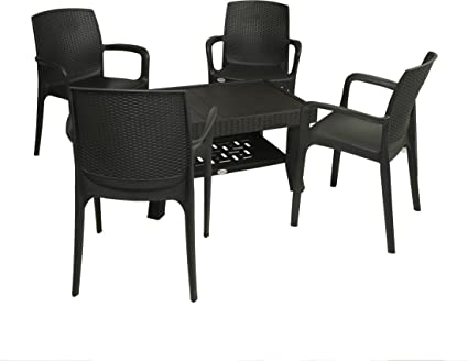 Mavi Black Outdoor Chair Table Set
