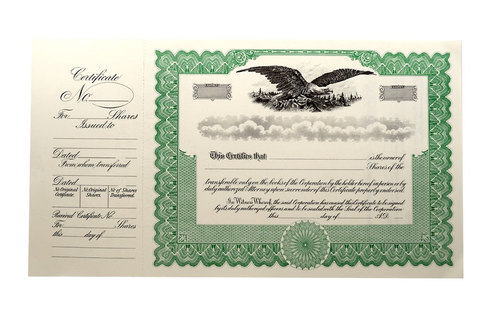 Loose legal size stock certificates 3 inch perf stubs, 12/pk, green