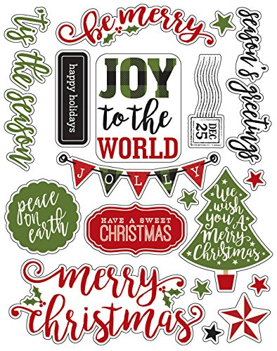 Echo Park Paper Company a Perfect Christmas Enamel Words & Phrases (Stickers Scrapbook Words)