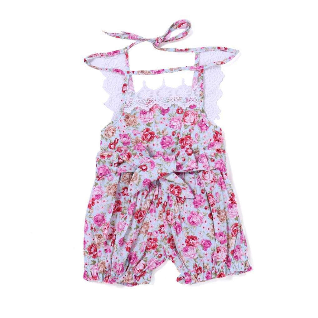 Winsummer Infant Baby Girls Sleeveless Strap Floral Lace Ruffled Bodysuit Short Romper Pants Jumpsuit