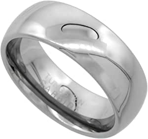 Sabrina Silver Tungsten Carbide 8 mm Comfort Fit Domed Wedding Band Ring for Him & Her Mirror Polished Finish, Sizes 5 to 14