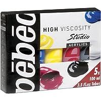Pébéo 833000 Packs Primaires Studio + Acrylique Assortiment de 5 Tubes de 100 ml