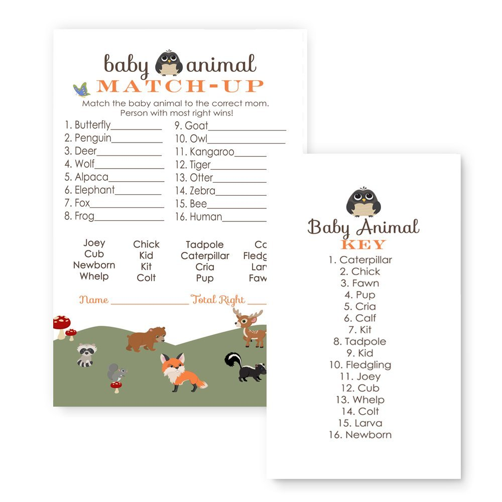 Paper Clever Party Woodland Animal Match Baby Shower Game ( 25 Pack ) by Paper Clever Party