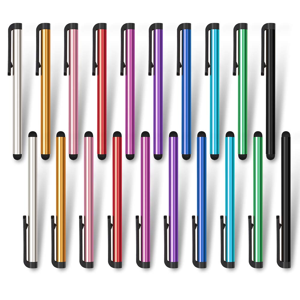 homEdge Slim Stylus Pen Set of 20 Pack 10 Color Universal Stylus Compatible with All Device with Capacitive Touch Screen