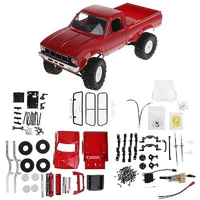 Fmingdou WPL C24 2.4G DIY RC Car KIT 4WD Remote Control Crawler Off-Road Buggy Moving Machine Kids Toys (red): Toys & Games