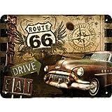 Nostalgic-Art 40361132611 Cartello Route 66 Road Trip, Acciaio, Marrone, 20 x 15 x 0.2 cm