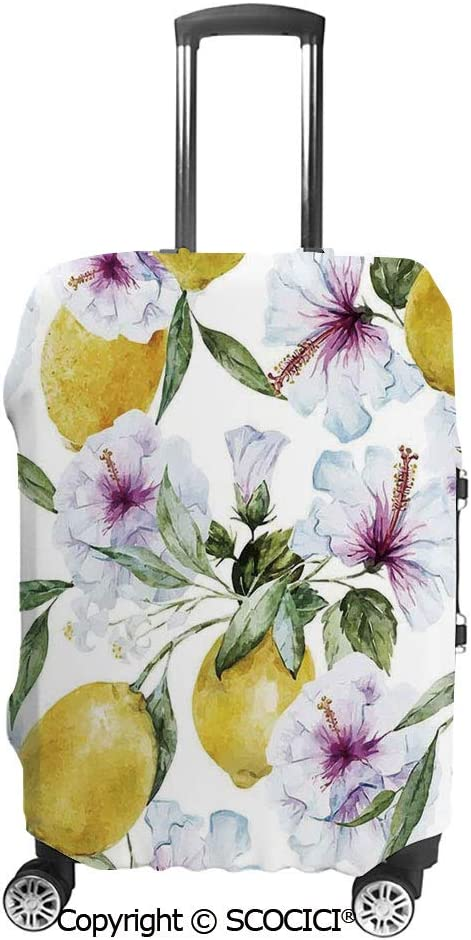 SCOCICI Luggage Suitcase Elastic Protective Covers Bouquet of Rose Daisy and Flowers Impressionist Style for Men Women Travel Business