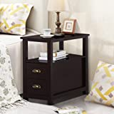Topeakmart Chairside Table with 2 Drawer and Shelf Narrow Nightstand for Living Room (Espresso, Rustic)