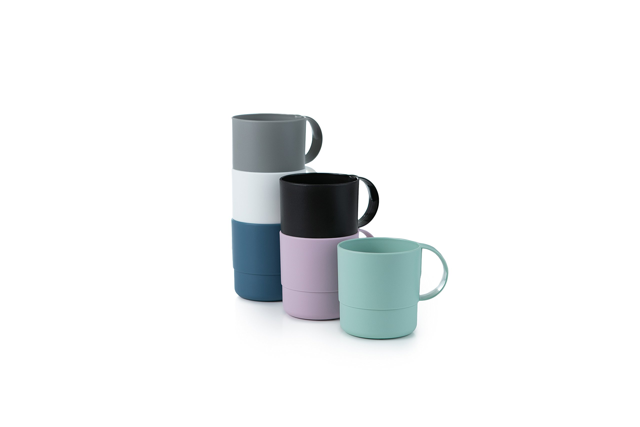 Amuse- Eco Friendly Sturdy Unbreakable & Stackable Mugs for Water, Coffee, Milk, Juice, Tea- Set of 6-11 oz (Assorted Colors) by Amuse Home (Image #2)