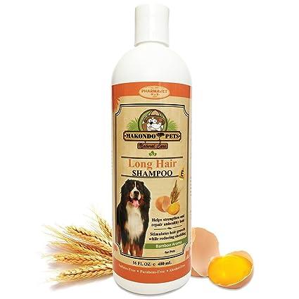 Champú para perros de pelo largo. All Natural libre de sulfatos y parabenos. Seco