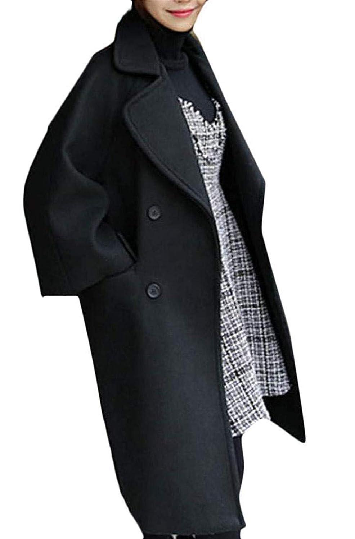 Black Jgsudid Women Clothes Womens Lapel Outwear Woolen Long Jacket Double Breasted Fashion Thicken Pea Coat
