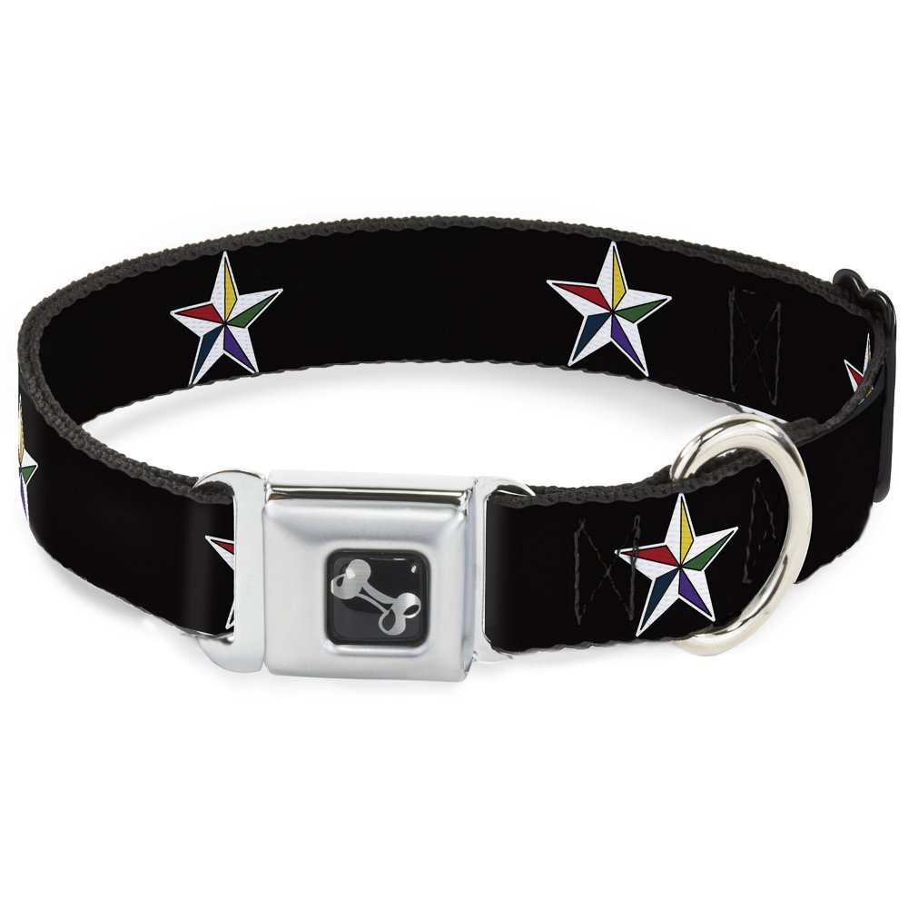Buckle-Down Seatbelt Buckle Dog Collar Nautical Star Black White Multi color 1.5  Wide Fits 18-32  Neck Large