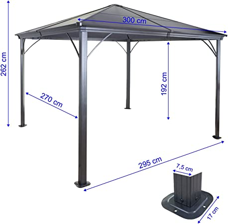 Mendler HWC-C74 - Cenador de techo rígido con cortinas y ...