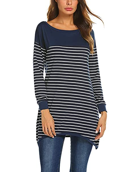 c86604ccefe Qearal Womens Long Sleeve Striped Tunic Shirt Loose Fit Pullover ...