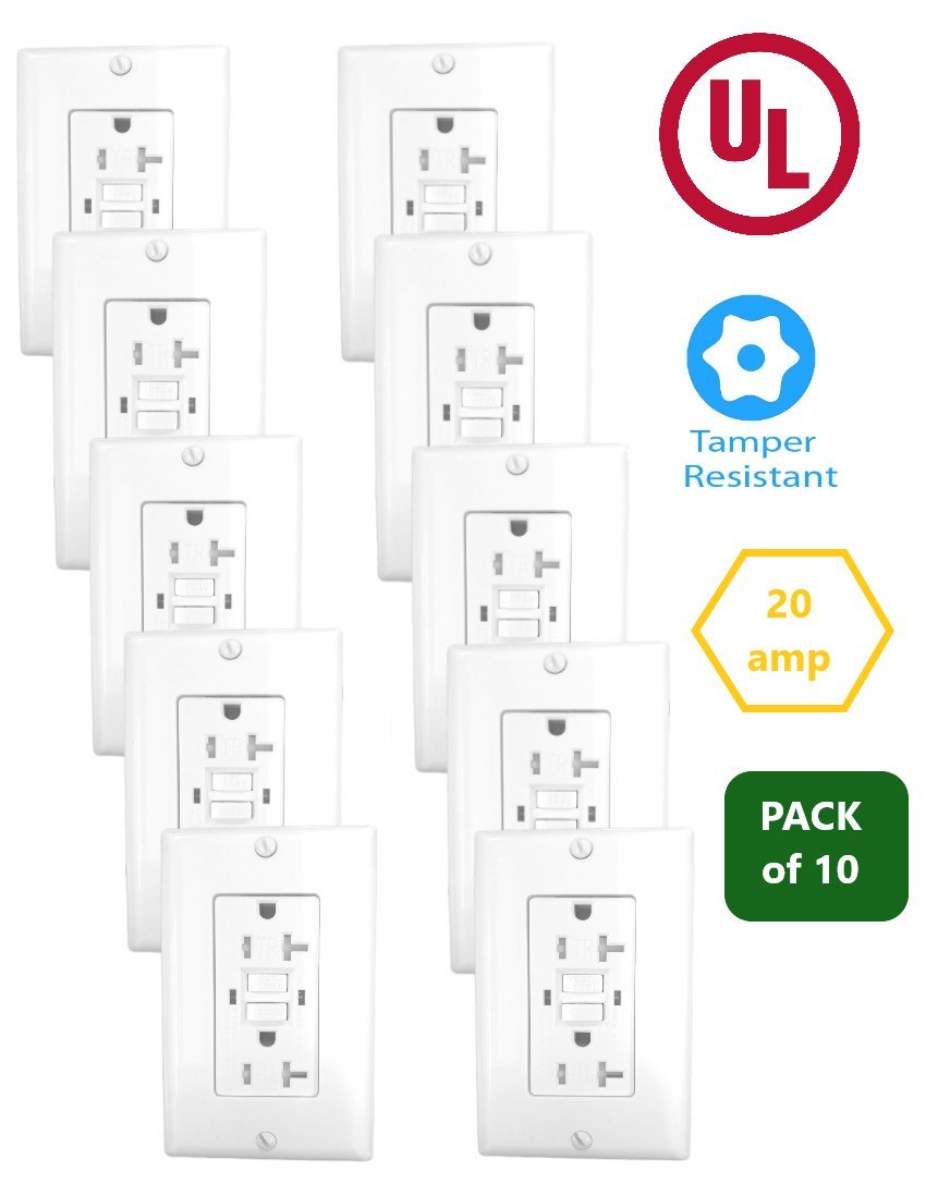 20 Amp GFCI Receptacle Outlet w/LED & Wallplate UL2015 (Pack of 10)