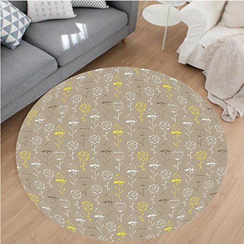 Flower Rug Cocoa (Nalahome Modern Flannel Microfiber Non-Slip Machine Washable Round Area Rug-llow Hand Drawn Sketchy Tulips Flowers Leaves Butterflies Art Image Cocoa Black and White area rugs Home Decor-Round 59