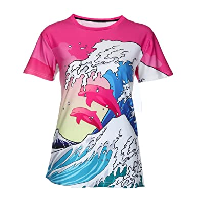 Women s Fashion Fish Mode Animal 3D Print Casual Short Sleeve Tops Blouse T  Shirts (Hot c8bceb1dc