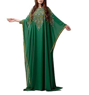 Emmani Womens Arabic Dubai Kaftan Muslim Beaded Evening Dresses Green 0