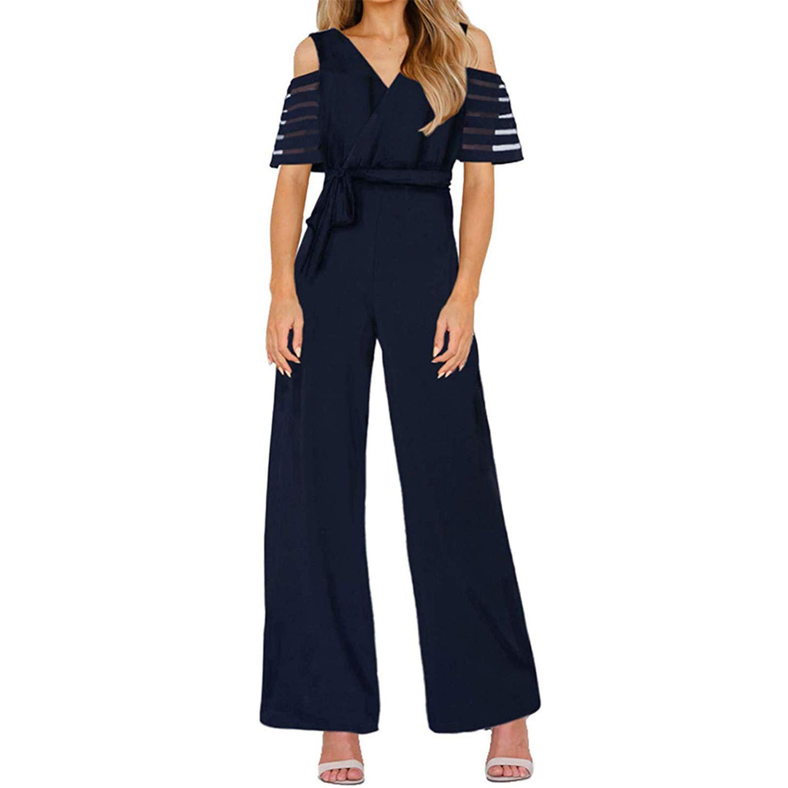 Thenxin Office Lady Jumpsuit V Neck Cold Shoulder High Waist Wide Leg Long Romper with Belt(Navy,S)