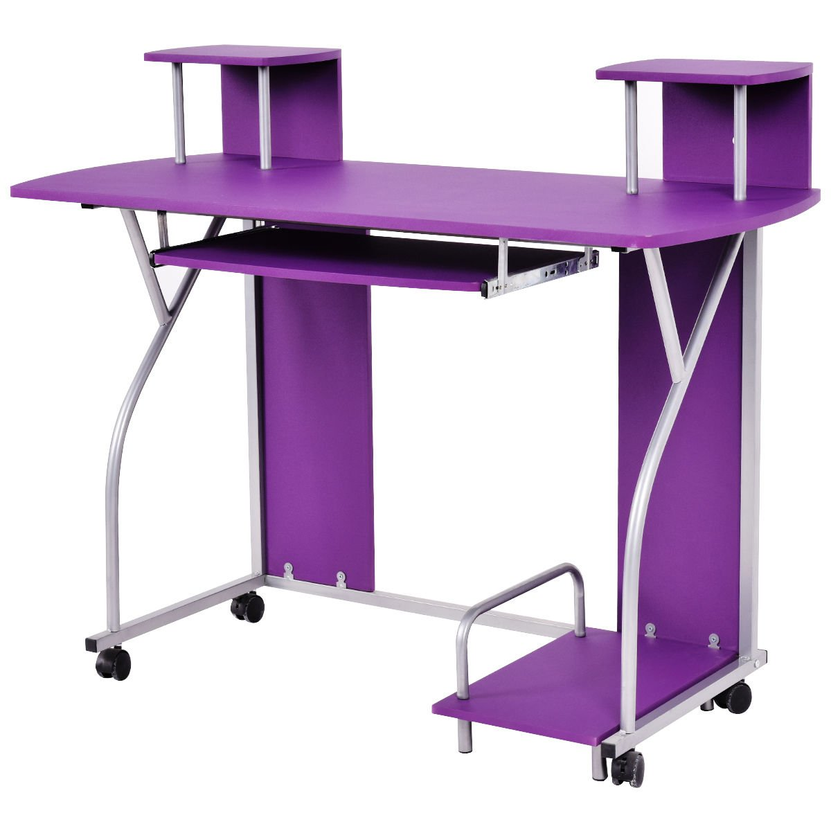 Tangkula Computer Desk Home Office Rolling Laptop Computer Table Desk  Workstation With Keyboard Tray (Purple