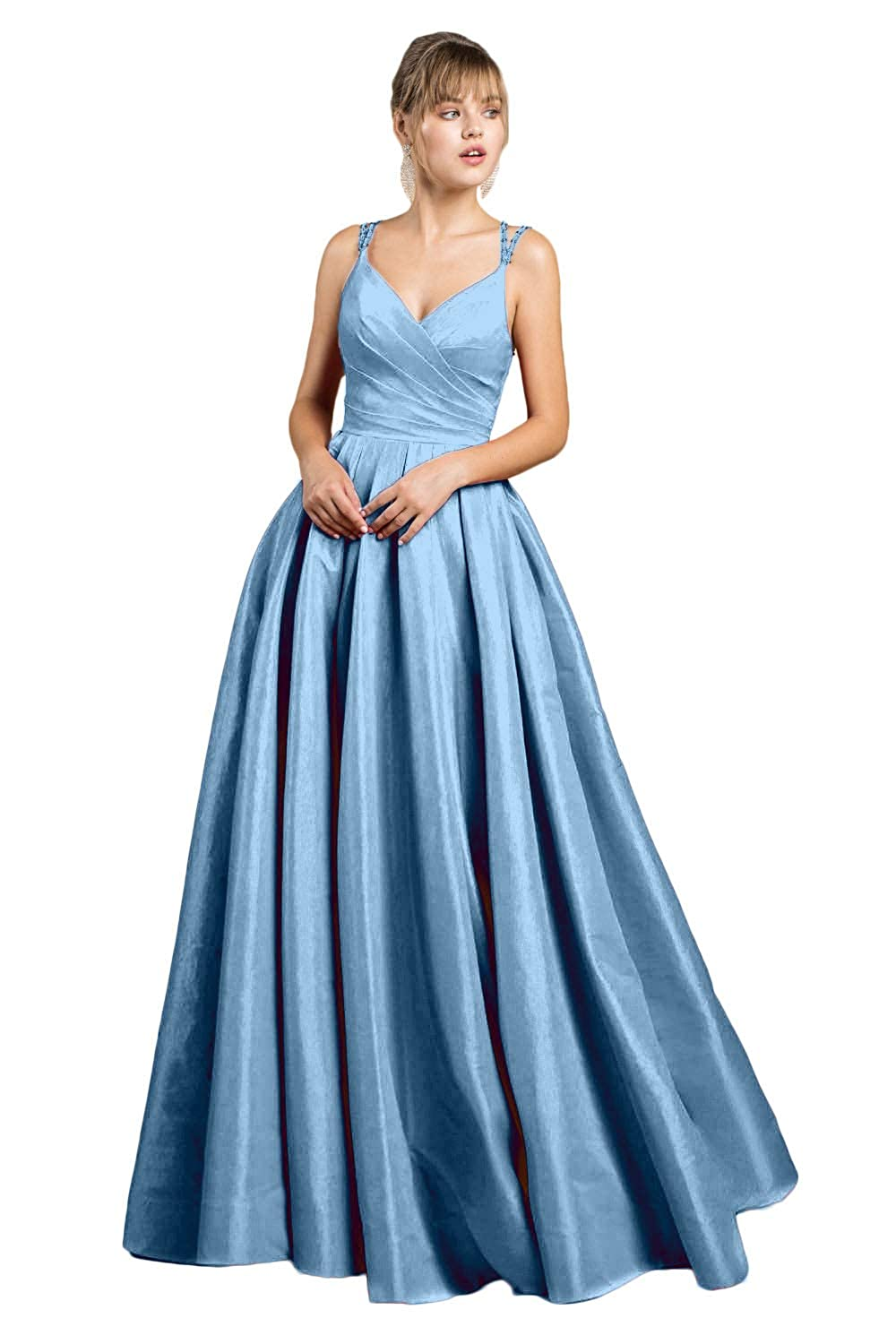Baby bluee Yakey 2019 VNeck Long Prom Dresses for Girls Pleat Beading Straps Floor Length Evening Gowns