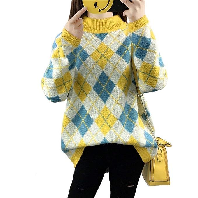 best loved 03e52 a2792 Maglione Donna Eleganti Fashion Stampato Reticolo Knit ...