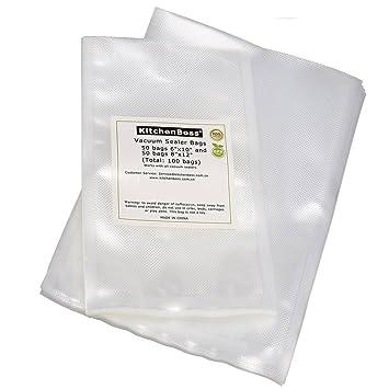 KitchenBoss Bolsas de Vacío, 50 pcs 15 * 25 cm y 50 pcs 20 * 30 cm para Dispositivo Envasadora Envasado al Vacío y Almacenamiento de Alimentos