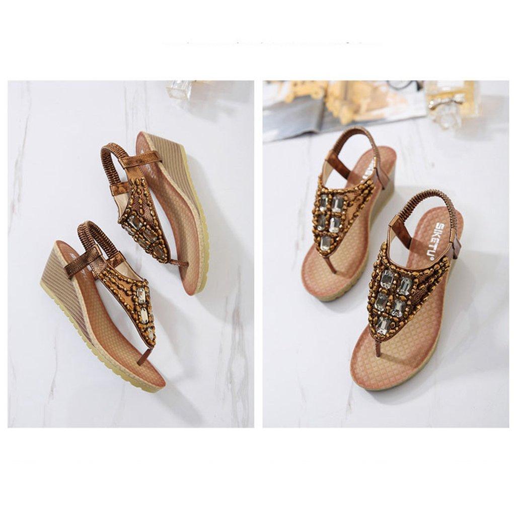 AVENBER Women Boho Wedge Sandals Rhinestone Beads T-Strap Platform Heel Anti-Skid Shoes B07CK93JK2 3 B(M)US Brown