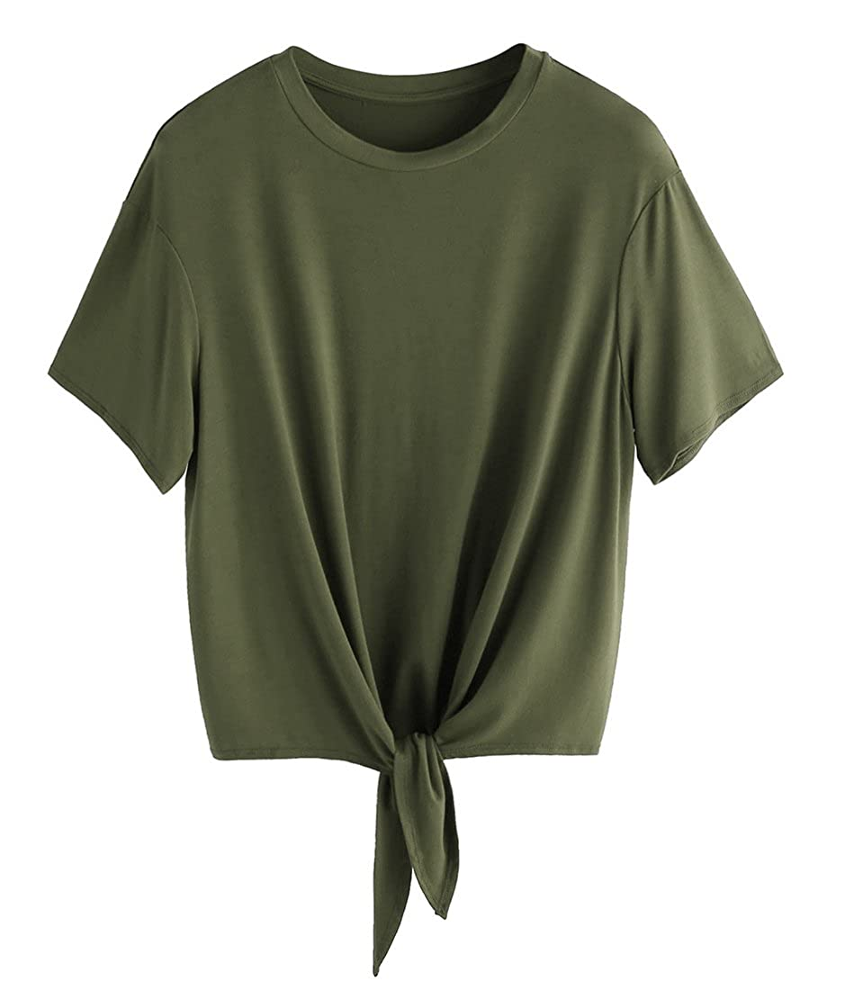 Amry Green Romwe Women's Short Sleeve Tie Front Knot Casual Loose Fit Tee TShirt