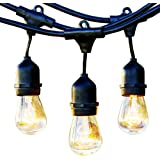 IDEAPAO Outdoor String Lights, 48-FT Weatherproof Commercial Grade Edison Lighting with15 Hanging Sockets and 18 Pcs 11watt S14 Incandescent Bulbs( 15 + 3 gift ) for Patio Garden Yard Porch Wedding Party
