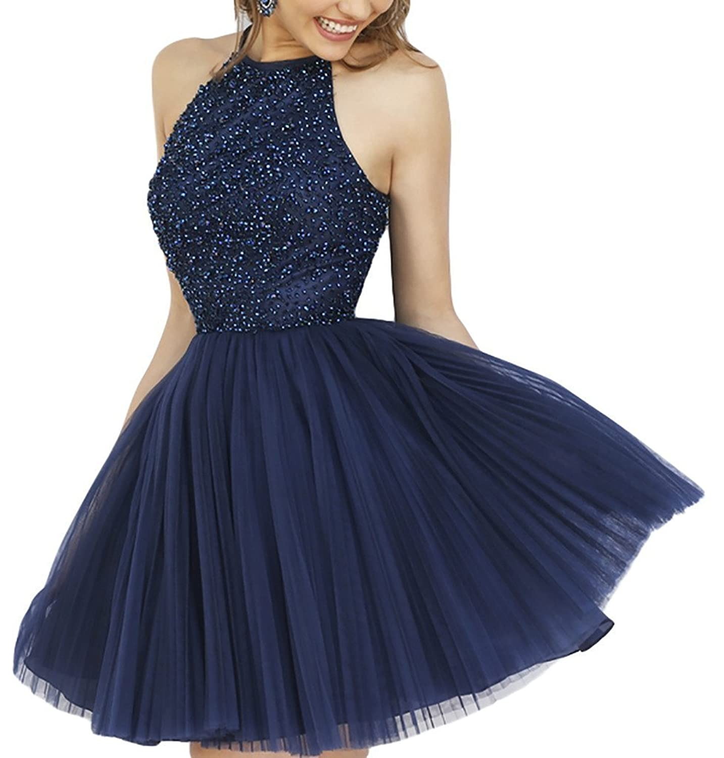 ALfany Women's Beading Short Backless Prom Dresses Ball Gown ALF070