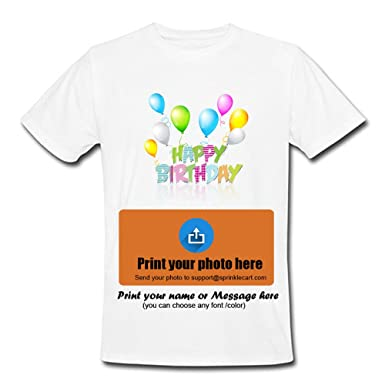 d1c4d3a19 Sprinklecart Happy Birthday T Shirts Custom Photo Printed T Shirts - Design  4: Amazon.in: Clothing & Accessories