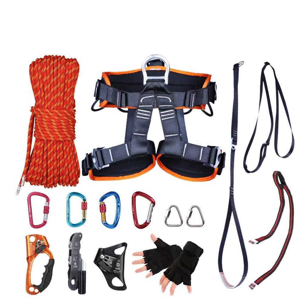 ロッククライミングロープ、ナイロン10.5 mm屋外安全ロープセットファイアエスケープレスキューパラシュートラペリングコード付きシートベルト、カラビナ   B07R54WYGJ