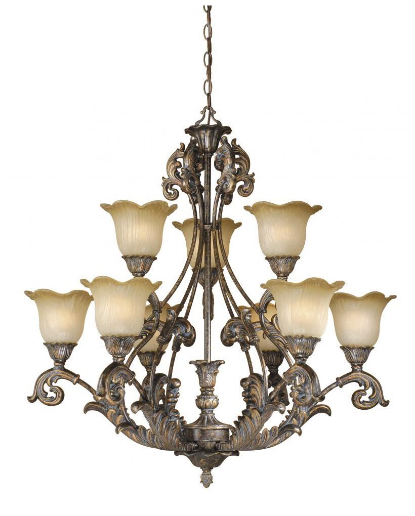 Vaxcel USA MTCHU009AR Monte Carlo 9 Light Chandelier Lighting Fixture in Bronze, Glass by Vaxcel