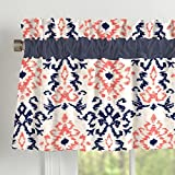 Carousel Designs Navy and Coral Ikat Window Valance Rod Pocket