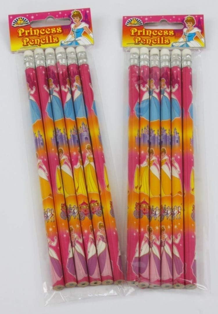 36 x Princess Pencils With Eraser Topper