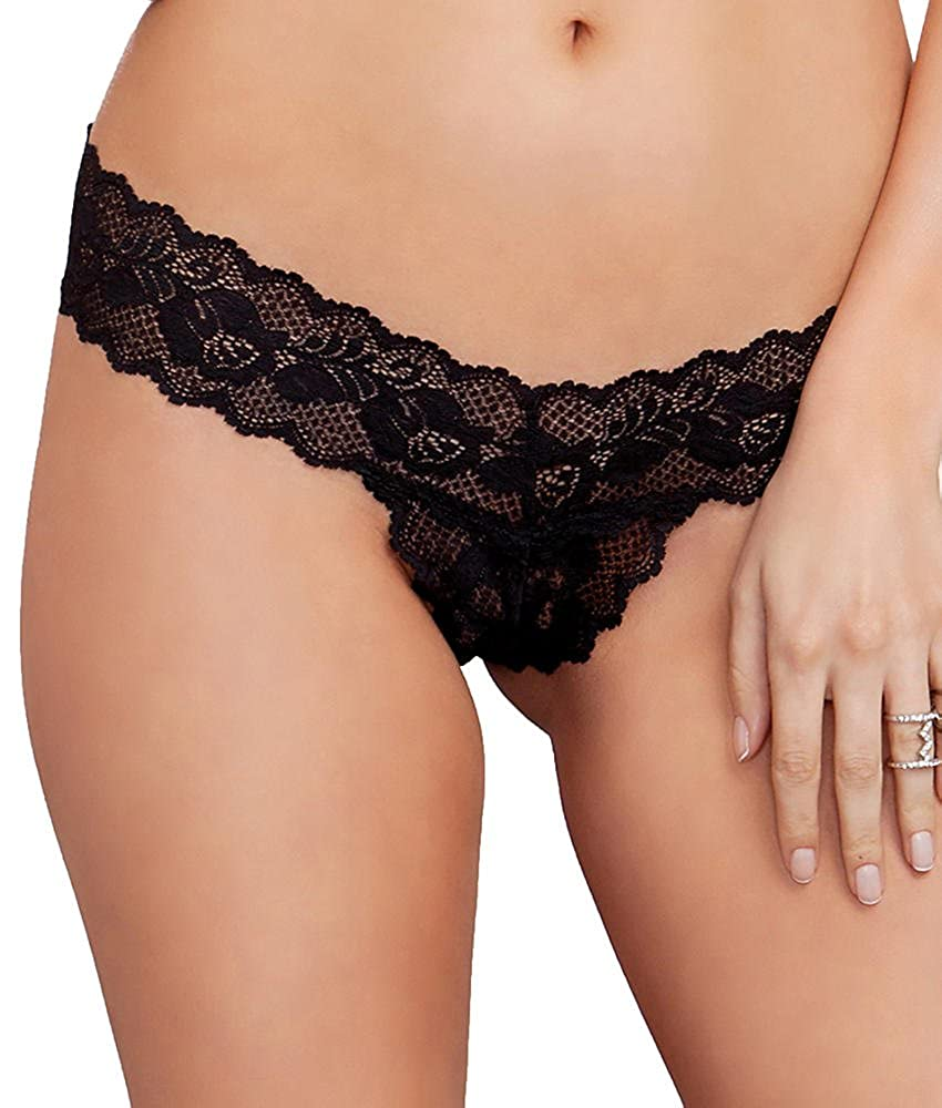 iCollection Lingerie Womens Scallop Lace Open Crotch Thong iCollection Exotic IA 7158