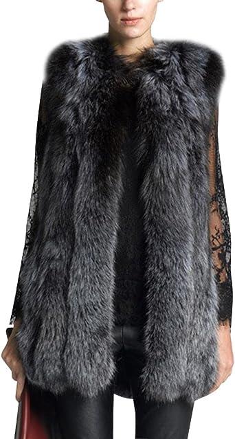 Femme Gilet Long Vest Manteau Coat sans Manches en Fausse Fourrure pour Cocktail Mariage Fête en Hiver