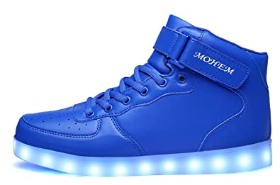 752abedf10 MOHEM ShinyNight High Top LED Shoes Light Up USB Charging Flashing Sneakers (1687003Blue30)