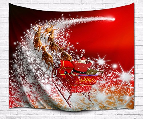 Claus Santa Wall (A.Monamour Red Backgrounds Santa Claus Riding The Sleigh Reindeer Pulling The Sleigh On Starry Way Picture Print Fabric Tapestry Wall Hanging Decorations 153x102cm/60