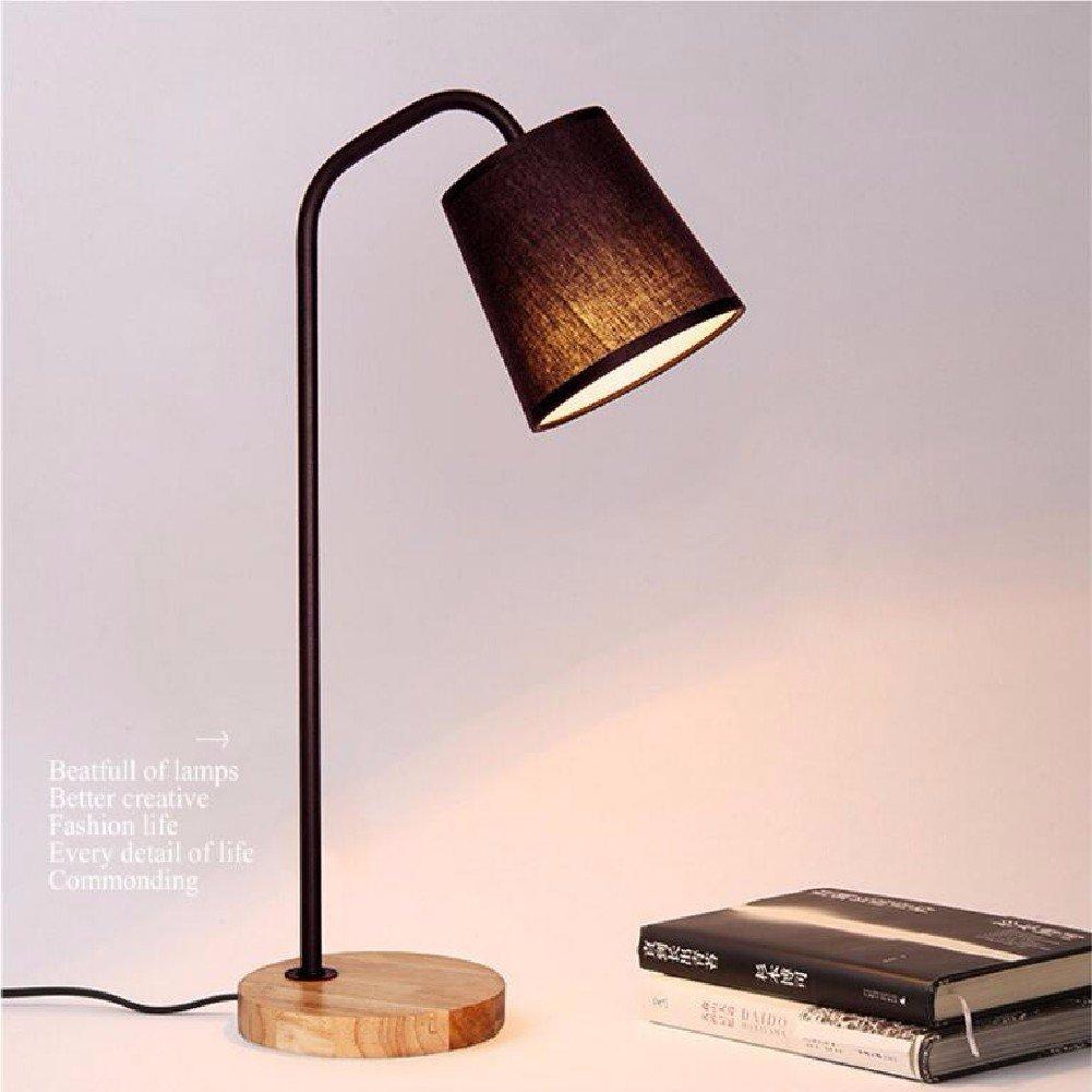 KHSKX Semplice lampada da tavolo, lampada da comodino camera da letto, studio camera salotto led legno luce led,Nero